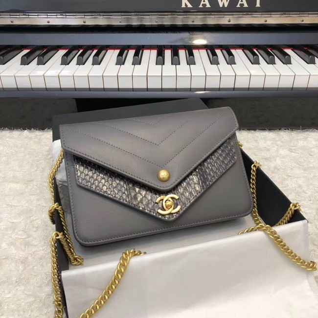 Chanel Original Lambskin & Gold-Tone Metal D33814 grey