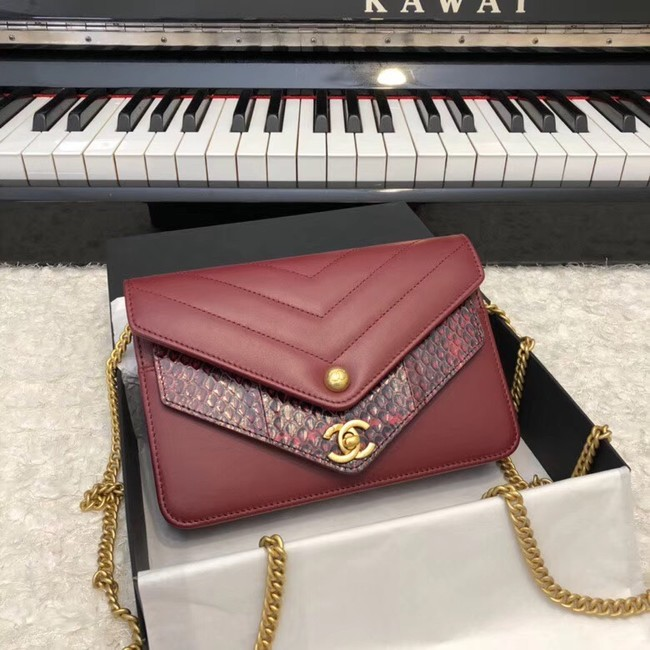 Chanel Original Lambskin & Gold-Tone Metal D33814 Burgundy