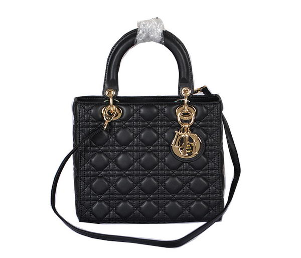 Dior Lady Dior Bag Black Sheepskin Leather D5432 Gold