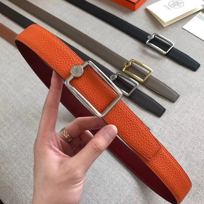 Hermes Quizz belt buckle & Reversible leather strap 32 mm H0739 Orange