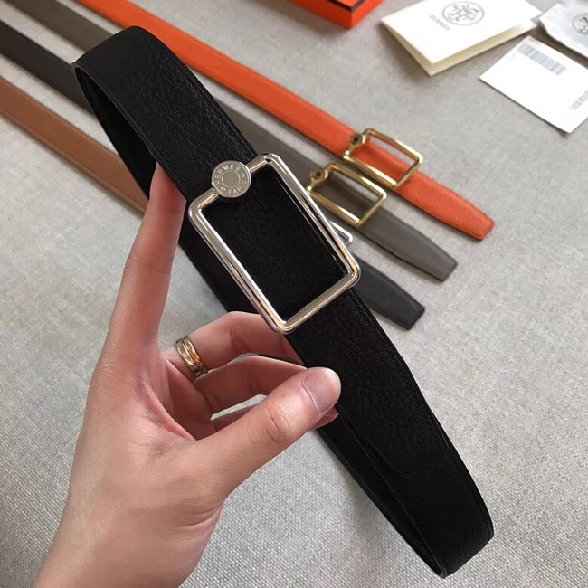 Hermes Quizz belt buckle & Reversible leather strap 32 mm H0739 black
