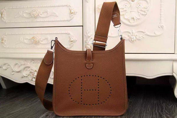 Hermes Evelyne 28cm Messenger Bag Original Leather H1188 Wheat