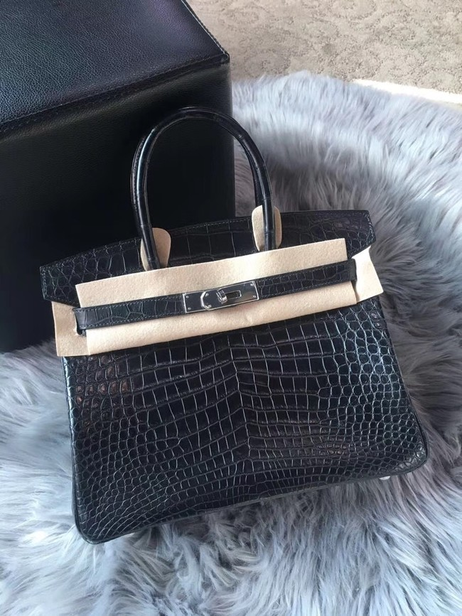Hermes genuine 100% crocodile leather handmade birkin bag BK350 BLACK