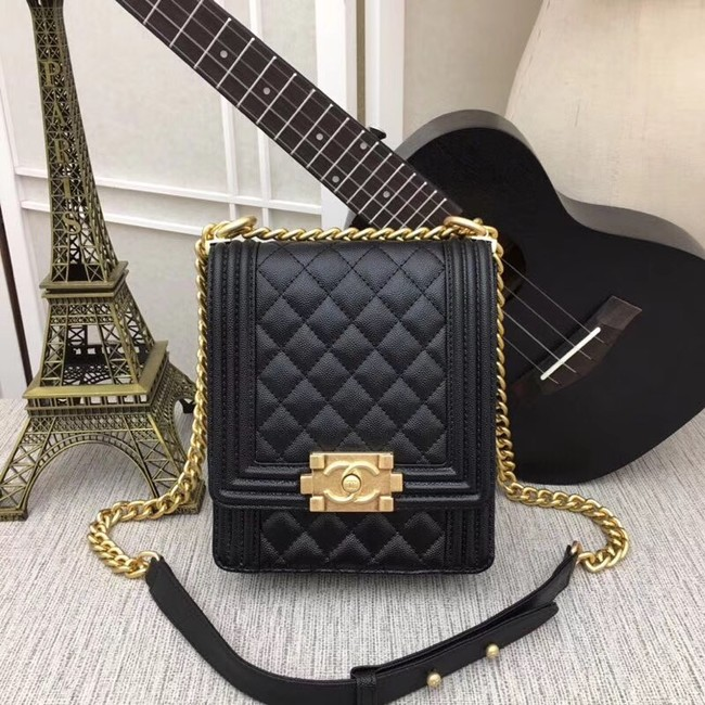 boy chanel handbag Patent Calfskin & Gold-Tone Metal AS0130 black