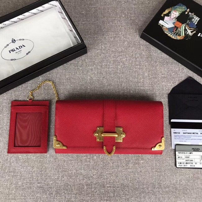 Prada Cahier Saffiano Leather Wallet Large 1MH132 red