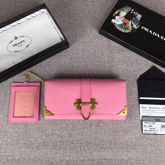 Prada Cahier Saffiano Leather Wallet Large 1MH132 pink