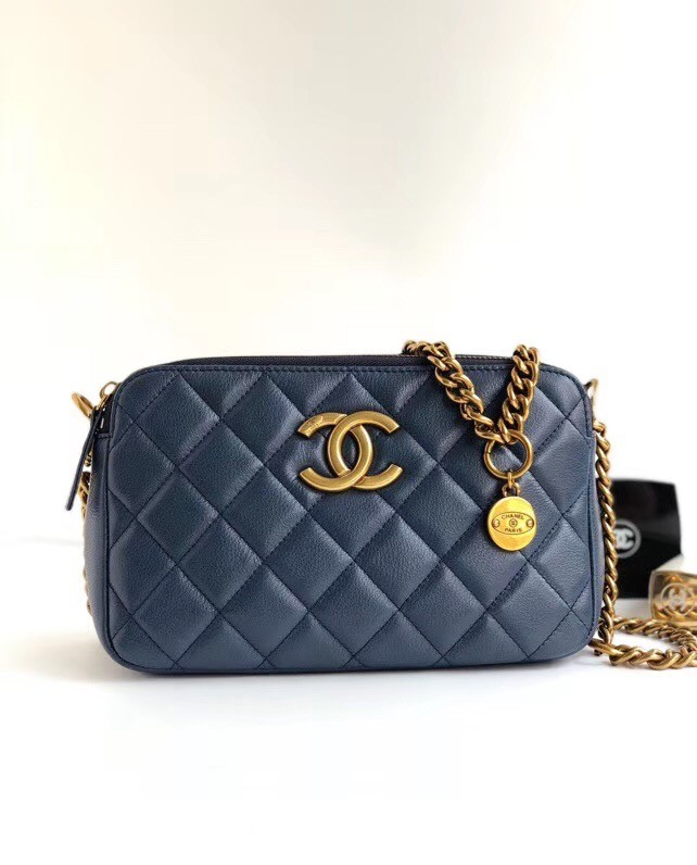 Chanel classic clutch with chain A94105 blue