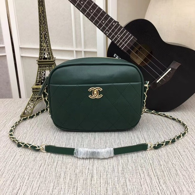 Chanel camera case Metallic Goatskin & Gold-Tone Metal 8040A green