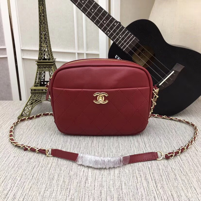 Chanel camera case Metallic Goatskin & Gold-Tone Metal 8040A Burgundy