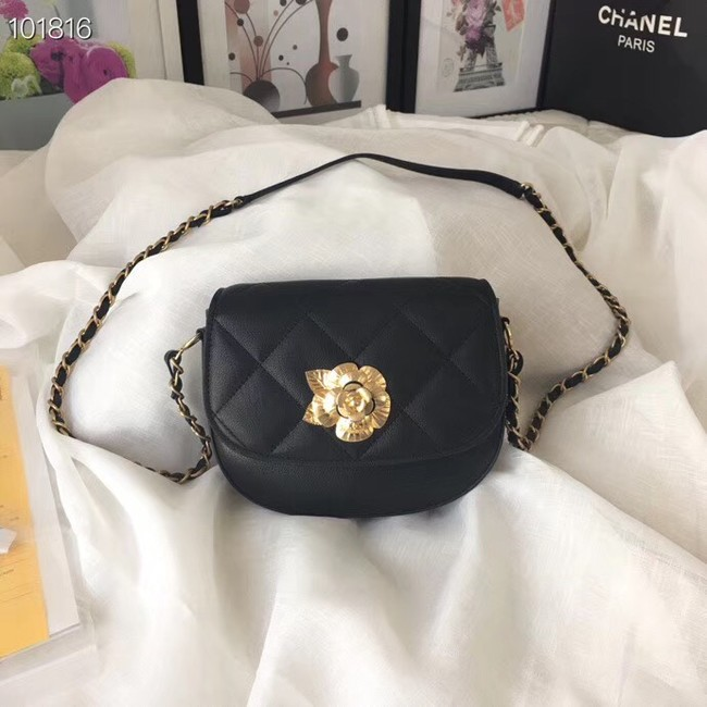 Chanel Lambskin & Gold-Tone Metal bag A57910 black