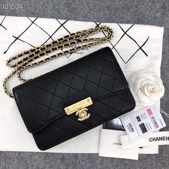 Chanel Calfskin & Gold-Tone Metal wallet on chain bag A81419 black