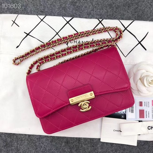Chanel Calfskin & Gold-Tone Metal wallet on chain bag A81419 rose