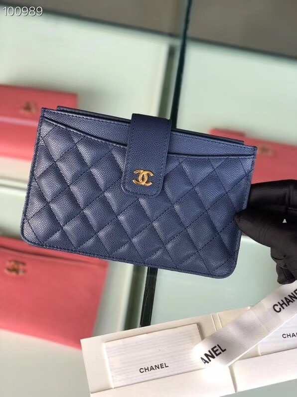 Chanel classic pouch Grained Calfskin & Gold-Tone Metal A81902 blue