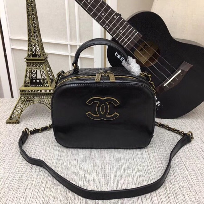 Chanel Calfskin & Gold-Tone Metal bag A81332 black