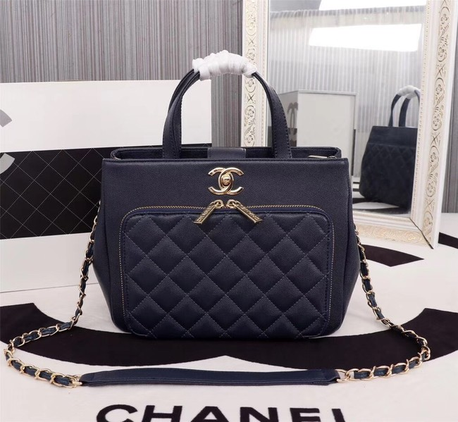 Chanel Calfskin & Gold-Tone Metal bag A81335 dark blue