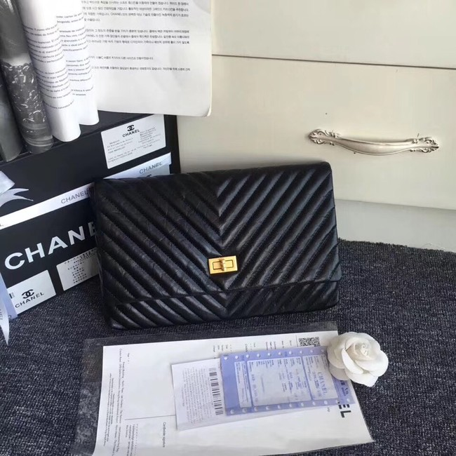 Chanel classic clutch Calfskin & Gold-Tone Metal 35629 black