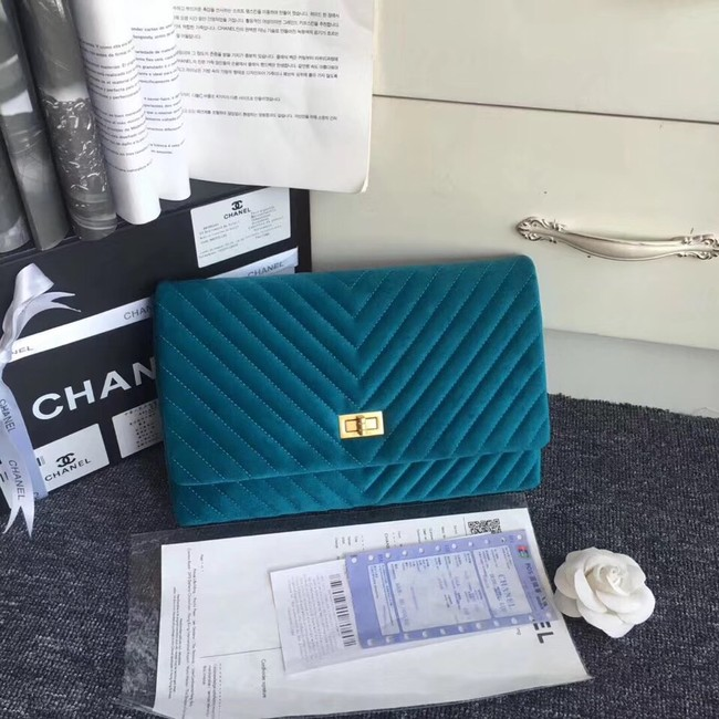 Chanel classic clutch velvet & Gold-Tone Metal 35629 blue