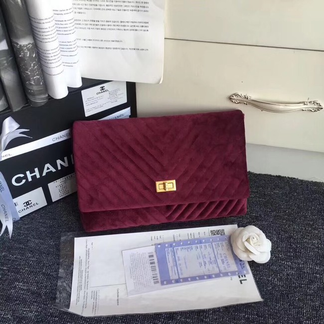 Chanel classic clutch velvet & Gold-Tone Metal 35629 Burgundy