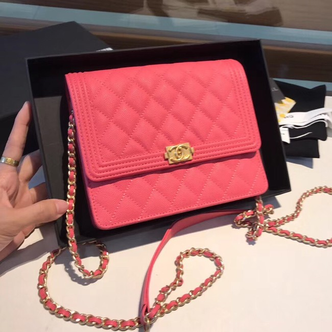 Boy chanel clutch with chain A84433 rose