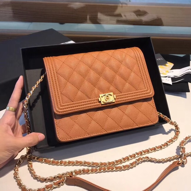 Boy chanel clutch with chain A84433 brown