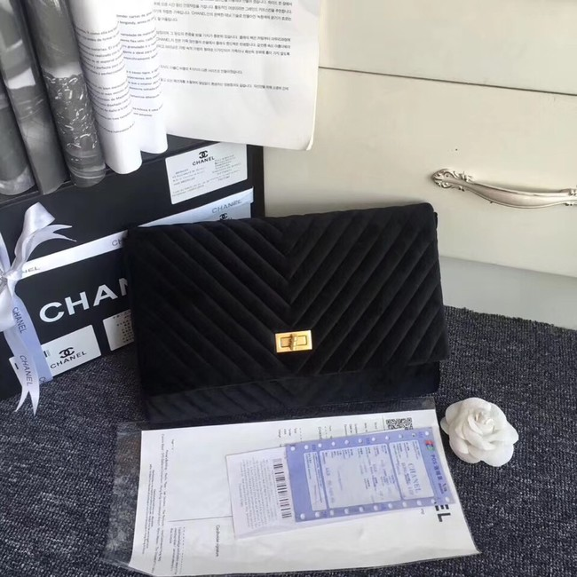 Chanel classic clutch velvet & Gold-Tone Metal 35629 black