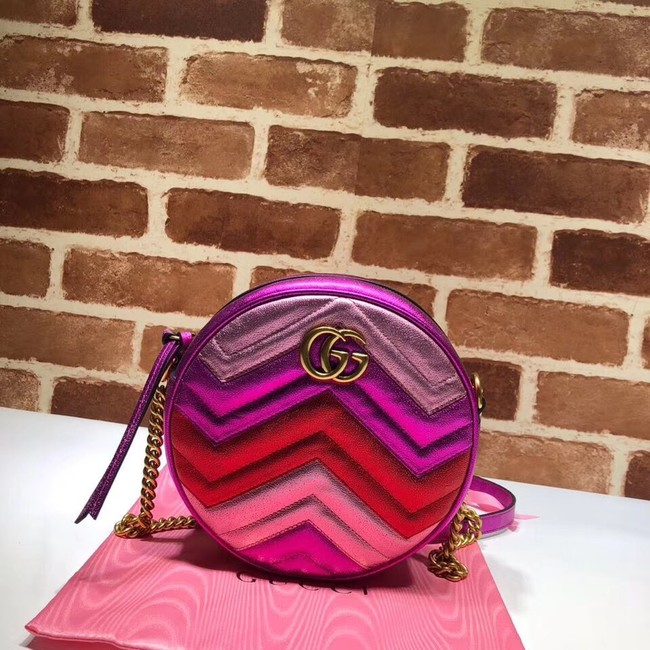 Gucci GG Marmont mini round shoulder bag 550154 Fuchsia&red& pink