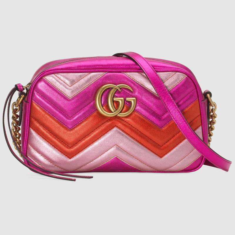 Gucci GG Marmont small matelasse shoulder bag 447632 Fuchsia&redπnk