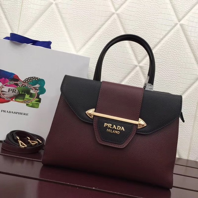 Prada Calf leather bag 13709 Burgundy