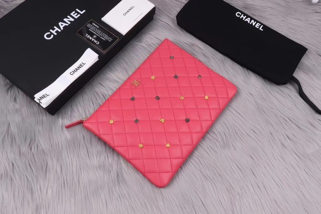Chanel pouch Lambskin & Gold-Tone Metal A81619 Pink
