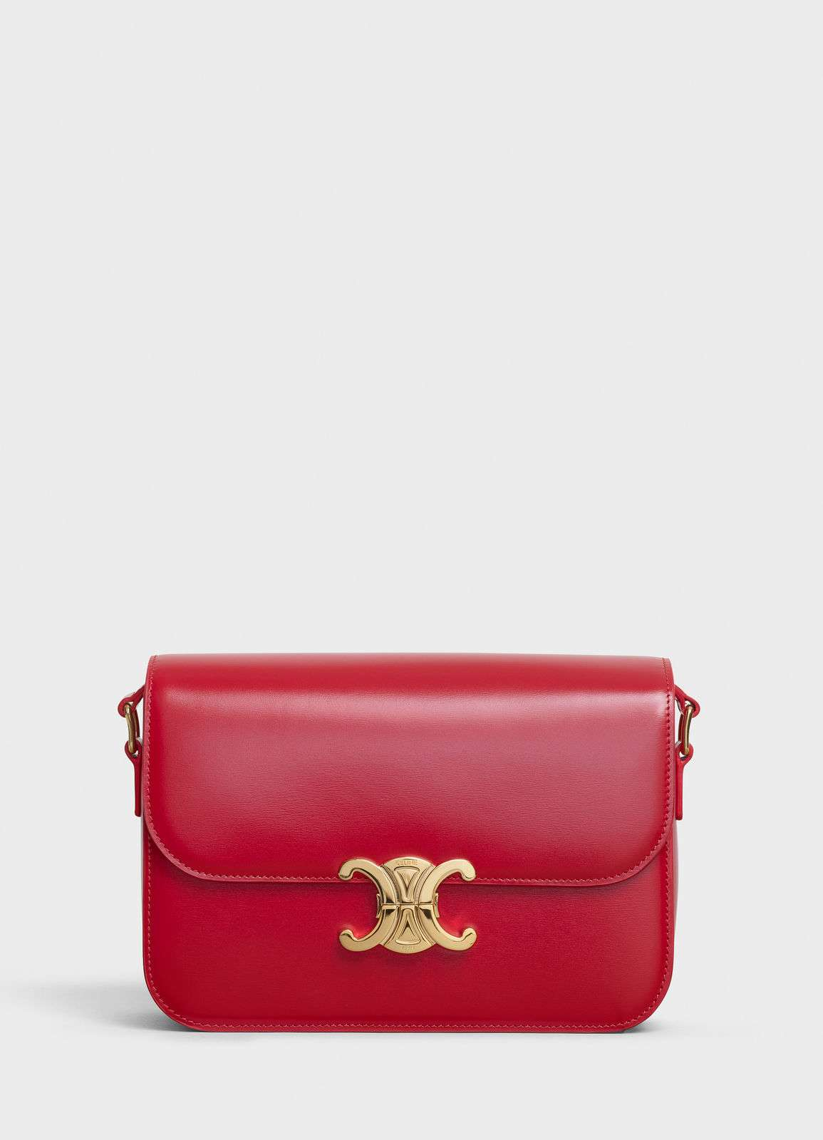 CELINE MEDIUM TRIOMPHE BAG IN SHINY CALFSKIN CL87363 RED
