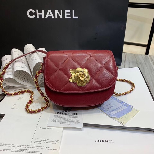 Chanel Lambskin & Gold-Tone Metal bag A57910 red