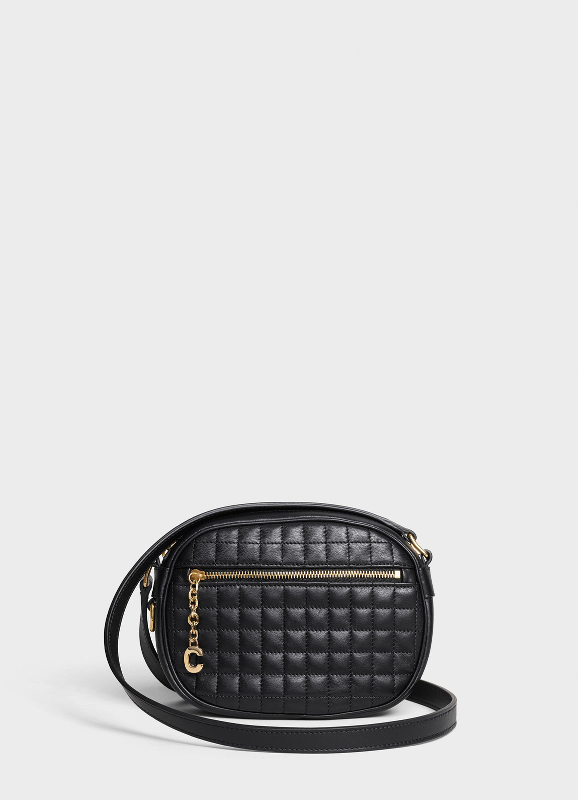 CELINE CROSS BODY SMALL C CHARM BAG IN QUILTED CALFSKIN 188363 BLACK