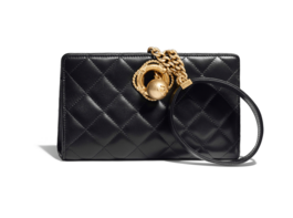 Chanel clutch Lambskin & Gold-Tone Metal AS0178 black
