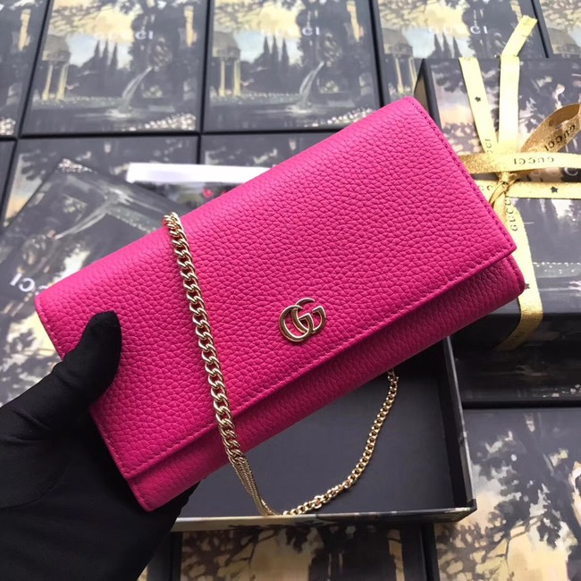 Gucci GG Marmont leather chain wallet 546585 rose