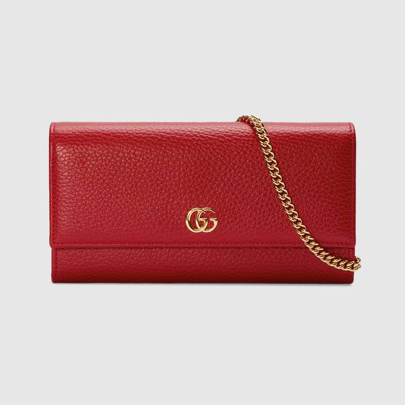 Gucci GG Marmont leather chain wallet 546585 Hibiscus red