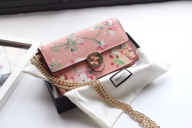 Gucci GG top quality canvas shoulder clutch purse 409340 pink