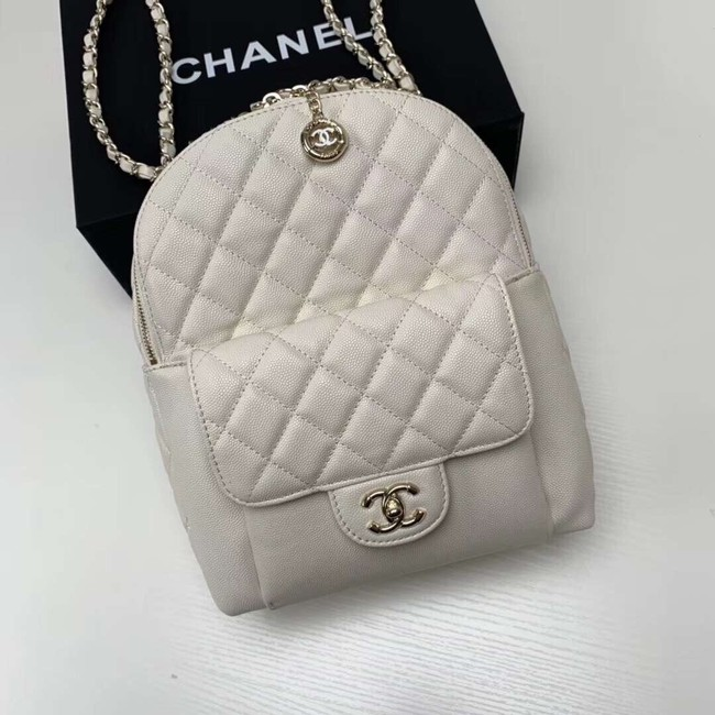 Chanel Grained Calfskin & Gold-Tone Metal backpack AS0004 creamy-white