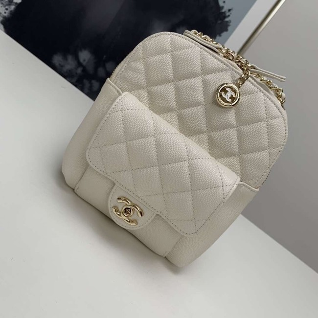Chanel Grained Calfskin & Gold-Tone Metal backpack AS0003 creamy-white