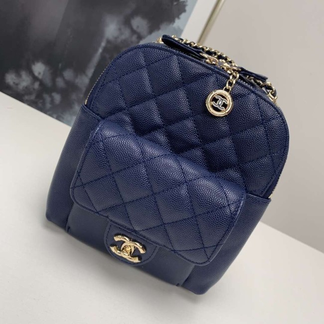 Chanel Grained Calfskin & Gold-Tone Metal backpack AS0003 blue