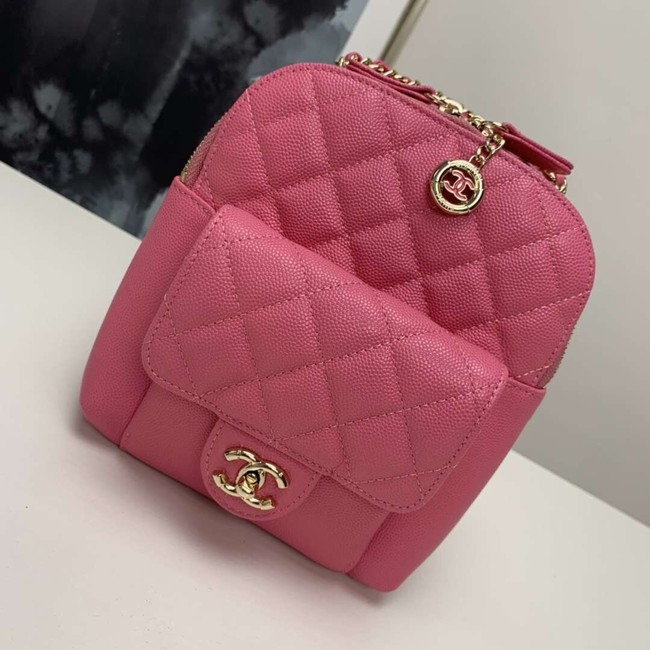 Chanel Grained Calfskin & Gold-Tone Metal backpack AS0003 rose