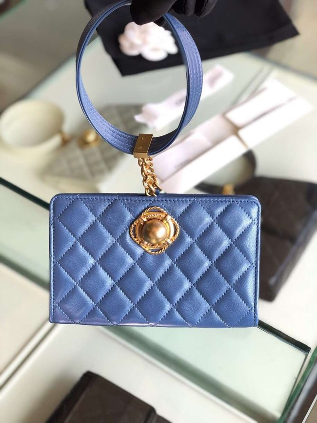 Chanel clutch Lambskin & Gold-Tone Metal AS0178 blue