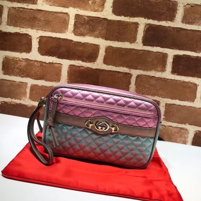 Gucci Calfskin Leather Clutch bag 447632 Pink&Gold&Green