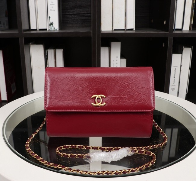 New Cheap Chanel A32258 red Grain Leather Flap Bag gold