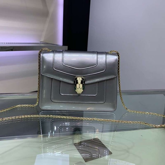 BVLGARI Serpenti Forever metallic-leather shoulder bag 34559 silver