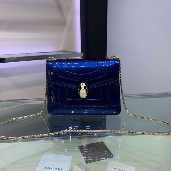 BVLGARI Serpenti Forever metallic-leather shoulder bag 34559 dark blue