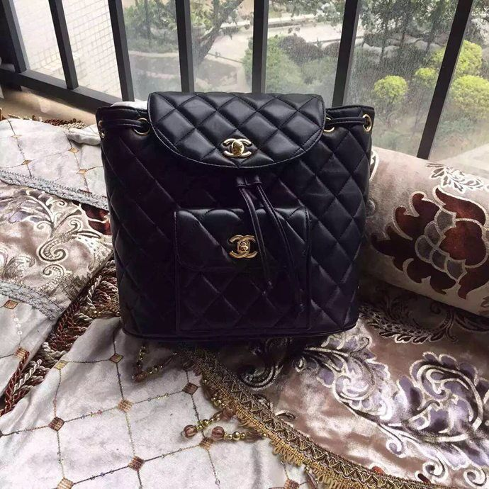 Chanel Backpack Sheepskin Original Leather A9036 Black