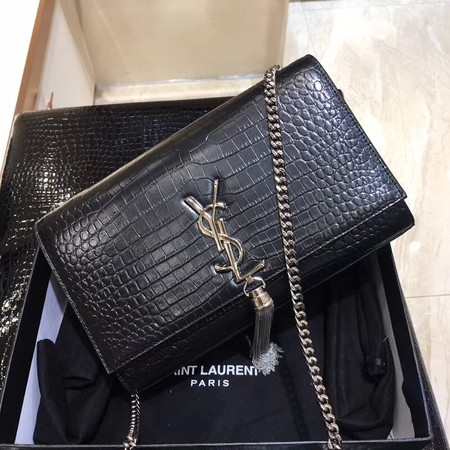 bad8fe1486 Yves Saint Laurent Crocodile Leather Shoulder Bag 1456 Black Silver