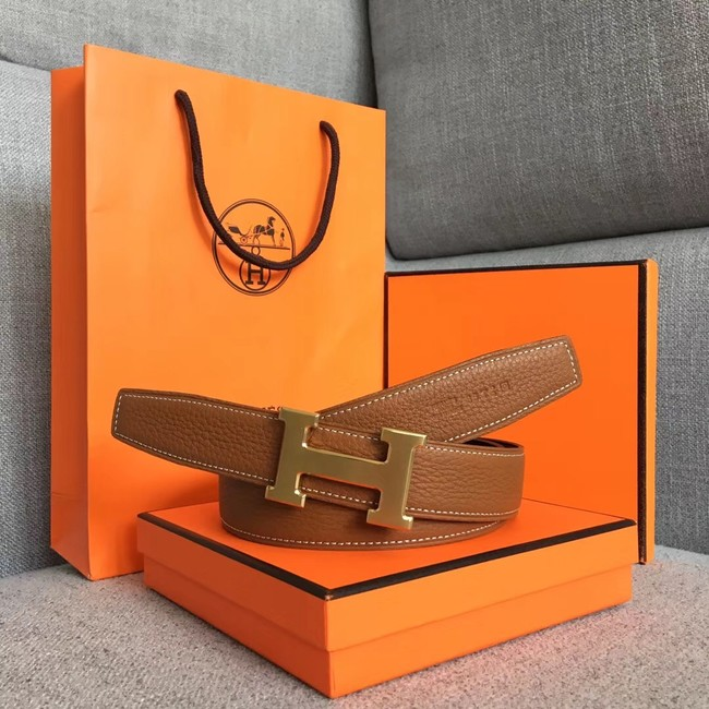 Hermes original togo 2 belt buckle & Reversible leather strap 32 mm H06454 brown