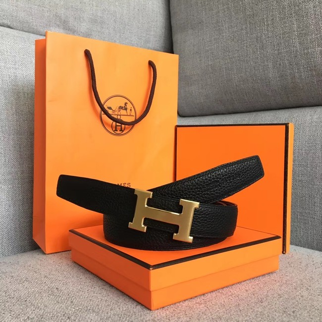 Hermes original togo 2 belt buckle & Reversible leather strap 32 mm H06454 black
