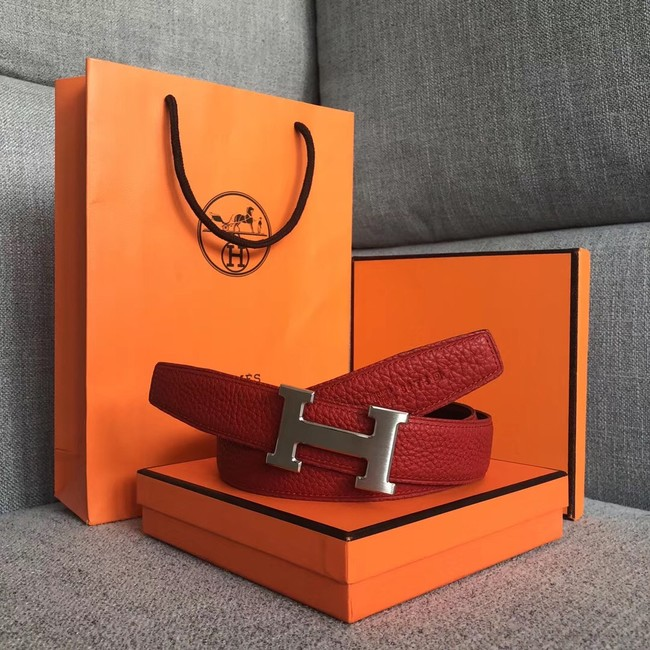 Hermes original togo 2 belt buckle & Reversible leather strap 32 mm H06454 red